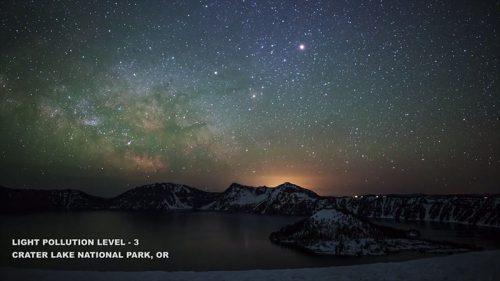 Fényszennyezés, 3-as szint Kráter tó, nemzeti park, Oregon