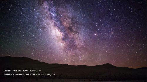 Fényszennyezés, 1-es szint Euréka dűnék, Halál-völgy nemzeti park, Kalifornia