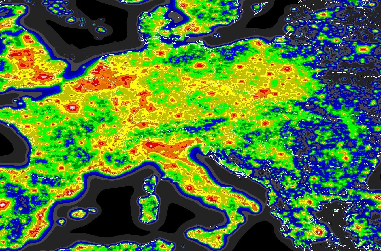fényszennyezés térkép Eltűnik a szemünk elől a Tejút   itt az új fényszennyezés térkép  fényszennyezés térkép